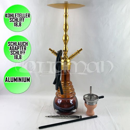 Shisha King Shisha Vapor Click 4 Adaptor Gold Shaft | Amber Shining | 65cm