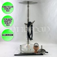 Caesar Mammut 650 Stainless Steel Look / Clear Shisha - 63cm